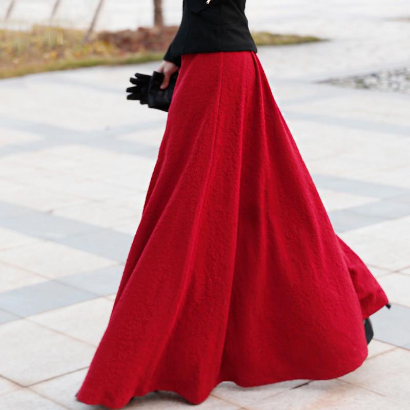 Long Red Maxi Skirt