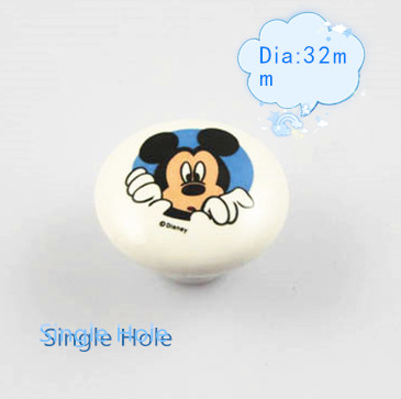 Гаджет  2pcs Single Hole Ceramic Kitchen Cabinet Knobs Lovely Kids Furniture handles Bedroom Cartoon Mouse Drawer Pulls None Мебель