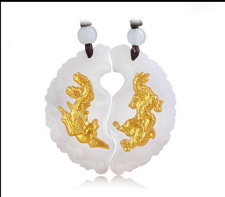 Hot sale 100% Natural Jade/Jadeite 24k 999 Yellow Gold A pair of Dragon Phoenix Pendant(China (Mainland))