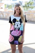 2015 explosion models summer Mickey cartoon short sleeve Tshirt 3D printing loose big cake version bottoming shirt long section(China (Mainland))