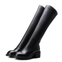 2017 new fashion brand genuine+pu thick heel women knee high boots winter snow boots metal zipper design low-heeled boots woman(China (Mainland))