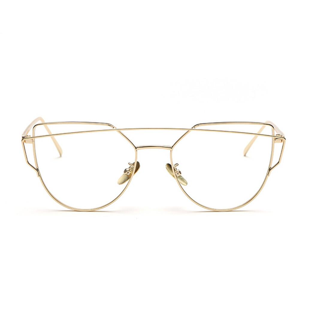 high quality retro gold glasses frames rimmed clear glasses optical lenses woman transparent lens female grade eyeglass frame
