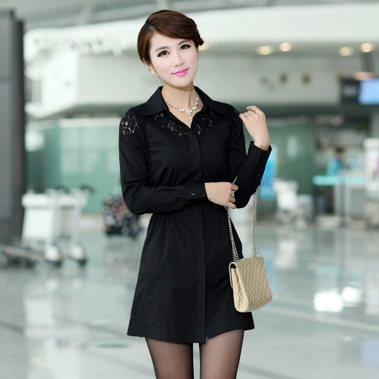 Large size women's 2016 Autumn new solid color shirt Slim stitching lace shirt long-sleeved shirt Elastic Waist Tops(China (Mainland))
