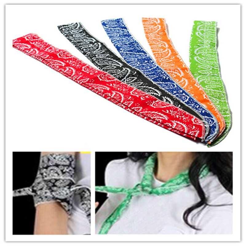 5Colors Non-toxic Neck Arm Cooler Scarf Body Ice Cooling Wrap Tie Headband Towel Bandana(China (Mainland))