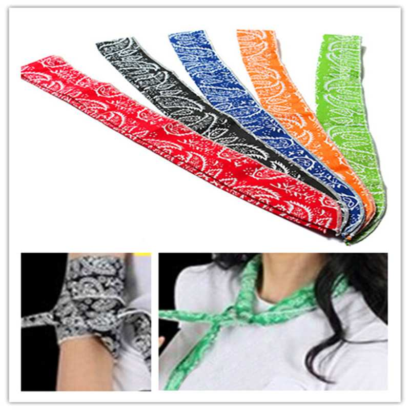 5Colors Non-toxic Neck Arm Cooler Scarf Body Ice Cooling Wrap Tie Headband Towel Bandana(China (Mainland))