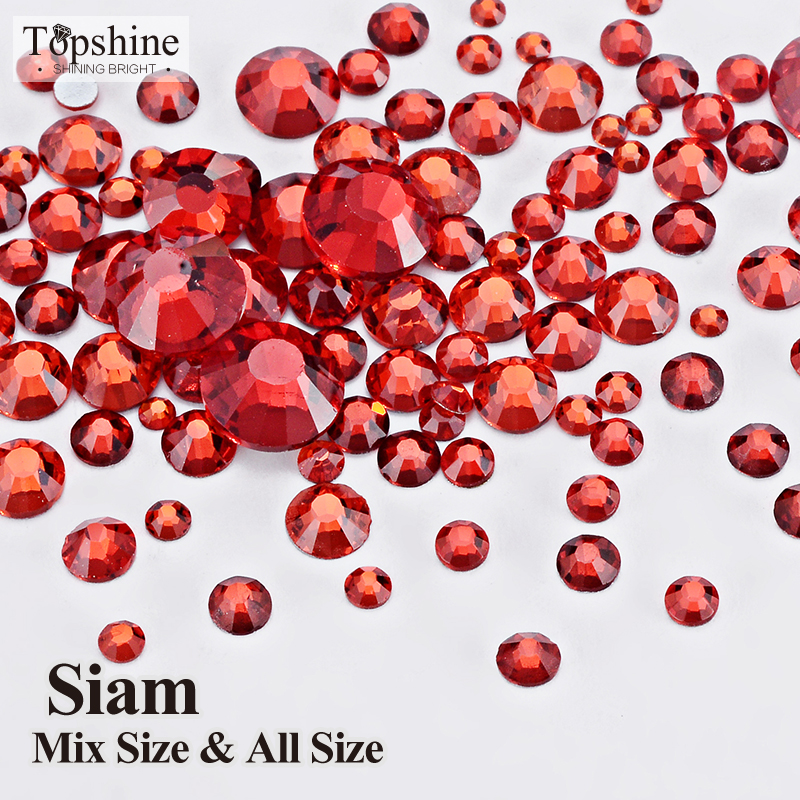 Loose Strass Shiny Non Hot Fix 1404pcs Siam Glue On Glass Material Mix 8 Size Flatback Nail Art Rhinestones(China (Mainland))