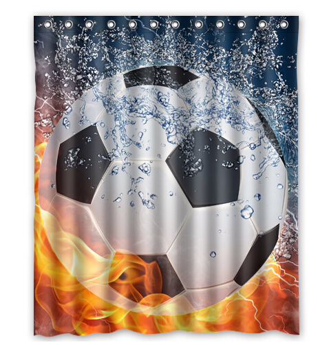 Soccer Ball Water and Fire Shower Curtain 160x180cm High quality Waterproof bath curtain(China (Mainland))