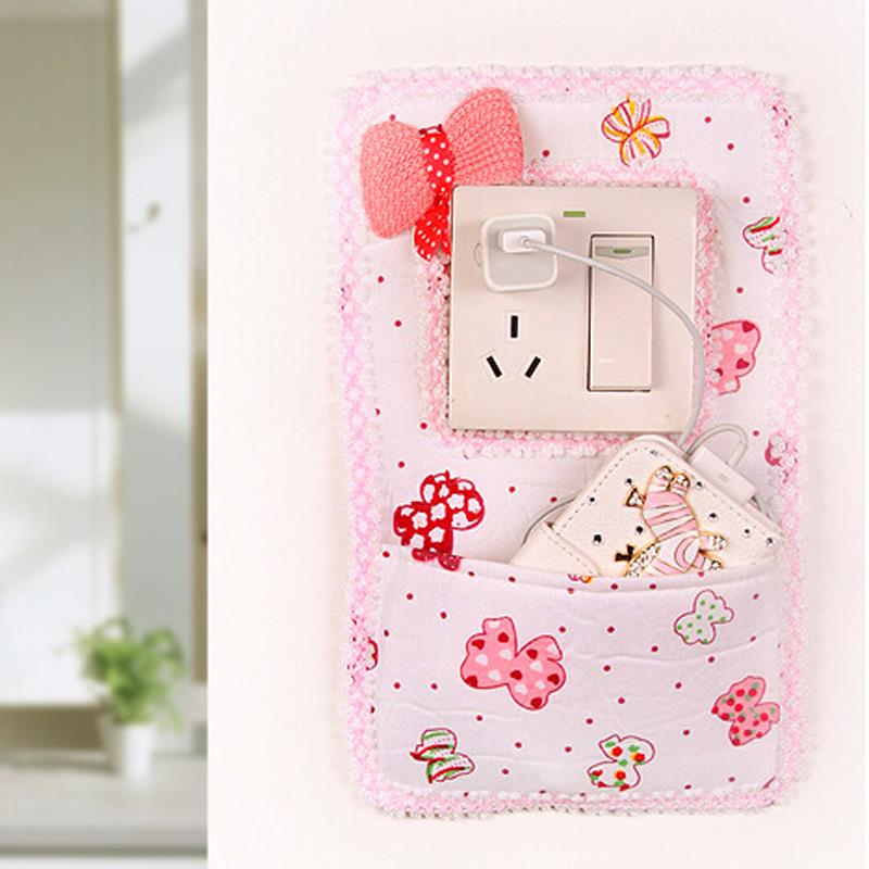 Household products Cloth Bow Socket Switch Sticker Wall Stickers Socket With pocket Phone charging 27*17cm KeyBag(China (Mainland))