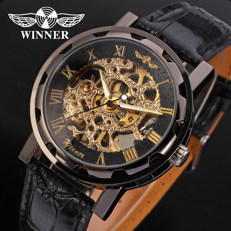 Fashion WINNER Men Luxury Brand Roman Number Hand-wind Leather Watch Automatic Mechanical Wristwatches Gift Box Relogio Releges(China (Mainland))