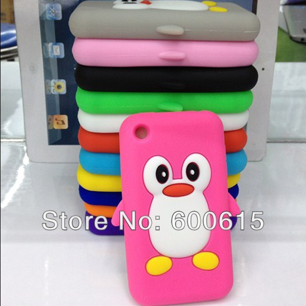 1 x Hot Selling Lovely 3D Penguin Soft Silicone Case Skin Cover for iPhone 3GS 3G(China (Mainland))