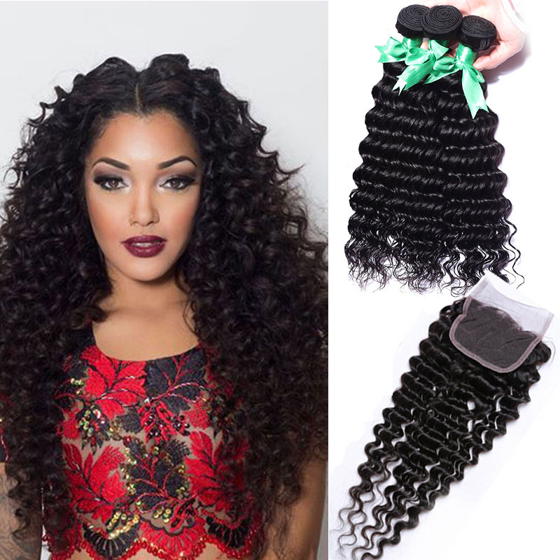 Grade 7A Peruvian virgin hair with closure hair bundles with lace closures Peruvian deep wave with closure human hair beauty