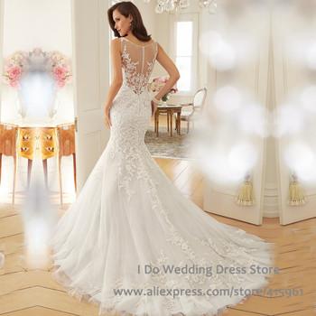 Мечтательный дизайн 2015 свадебные платья русалка свадебные платья совок бак видеть сквозь Vestido де феста лонго W3562