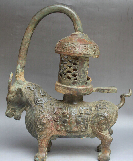 """wholesale factory 16"""" Chinese Dynasty Bronze Year Bull Oxen Statue oil lamp Light Palace Lantern(China (Mainland))"""