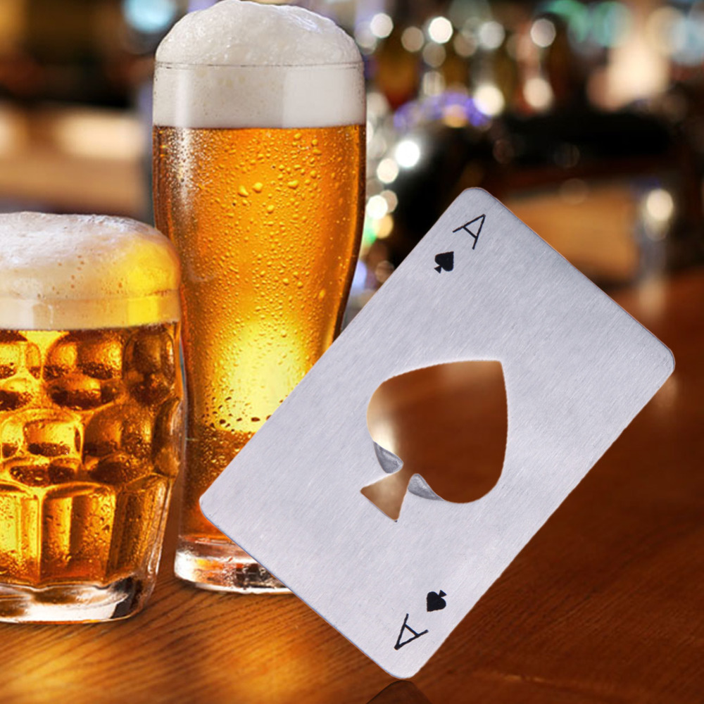 Unique Creative Stainless Steel Can Beer Opener Poker Playing Card Bottle Opener Bar Tool Free Shipping(China (Mainland))