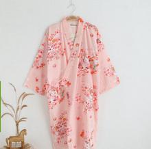 Cotton Bathrobes Summer Cotton Robes for Women Cotton Kimono Robes Floral Spa Robe Women Pajamas Japanese Kimono Yukata(China (Mainland))