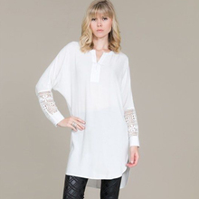 long ladies blouses womens tops fashion 2015 hollow out long sleeve shirt women white blouse vintage lace top plus size clothes(China (Mainland))