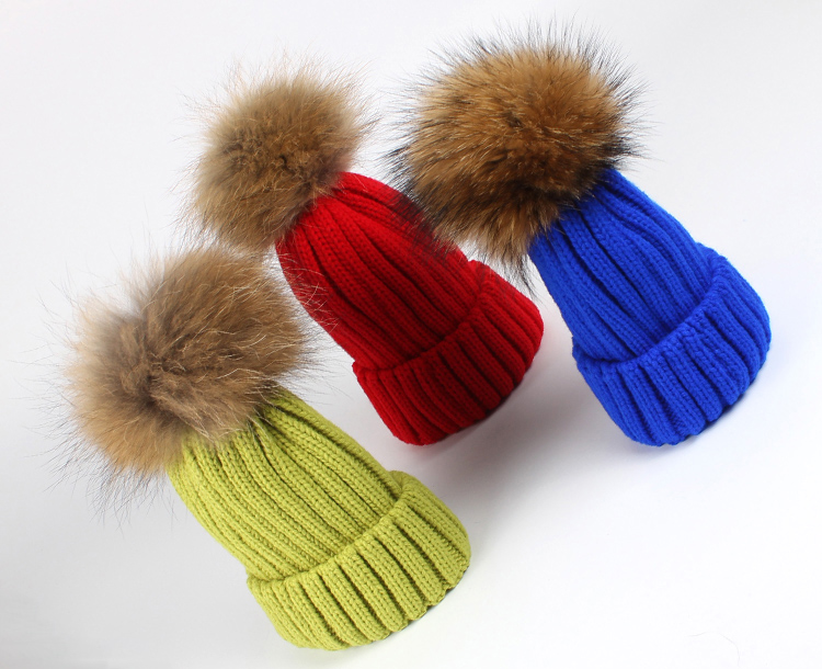 New Fashion Real Racoon fur ball knitted beanie hat skullies caps Knitting Winter Hats(China (Mainland))
