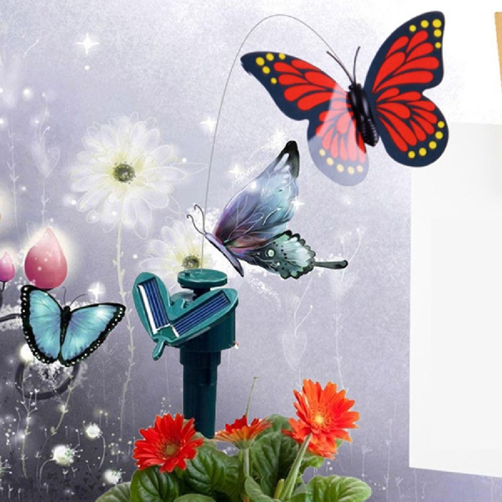 Useful Solar Powered Dancing Flying Butterfly Garden Decoration Wall Decoration Color At Random(China (Mainland))