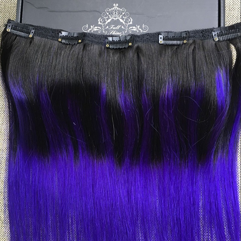 Full Shine One Piece Clip Extensions Brazilian Hair Balayage Two Tone Color 1B Ombre Color Purple Clip in Human Hair Extensions