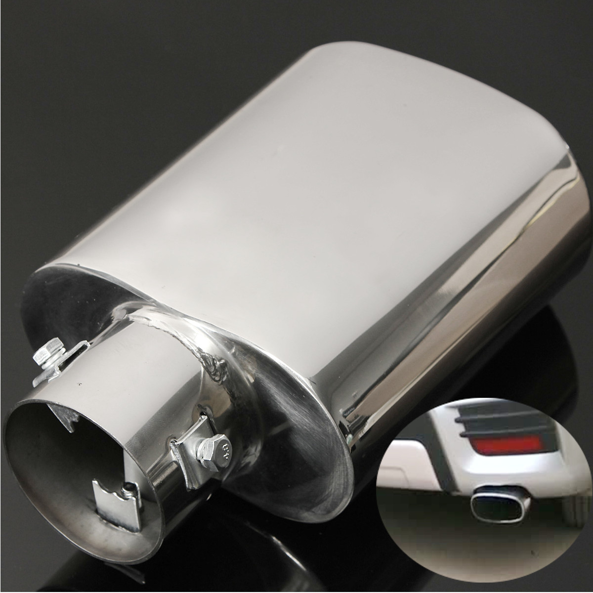 Universal Chrome Exhaust Tail Trim Tip Pipe Muffler Stainless steel Replacement(China (Mainland))