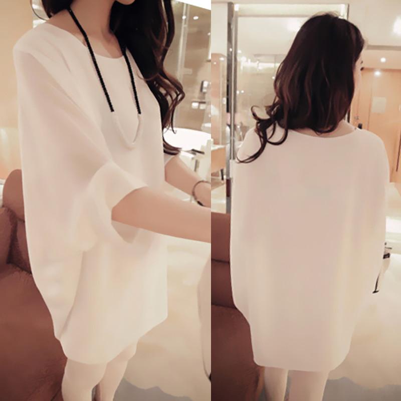 Summer women's 2015 loose t-shirt female medium-long chiffon shirt plus size top batwing sleeve summer female(China (Mainland))