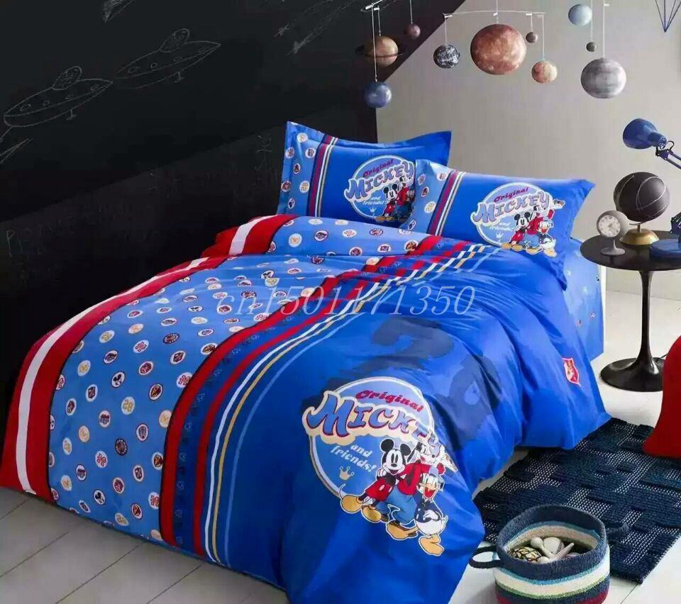 Good quailty 100 cotton satin drill mickey mouse queen comforter sets twin full child bedding - Mickey mouse bedroom furniture ...