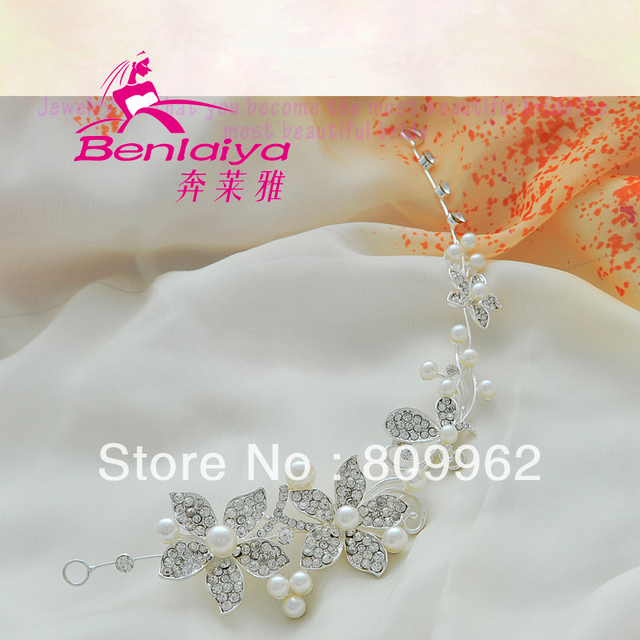 2013 Free Shipping 2pcs/lot Rhinestone Hairwear Fashion Wedding Hair Accessories Hot Sale Flower Bridal Jewelry Silver Plated
