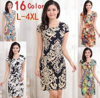 Summer Dress 2015 New Women Slim Short Sleeve Print Dresses Plus Size Women Clothing Casual Bodycon Dress Vestidos L-4XL
