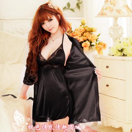 2PCS Women's Pajamas sleepwear sexy lace Dress Pajamas set plus size silk nightgown Spaghetti Straps Pajamas Nightgown Hot Sale(China (Mainland))