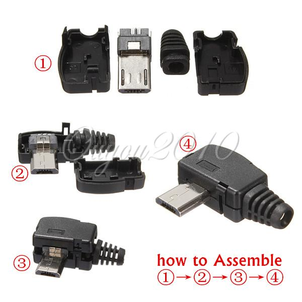 Best Promotion New Plastic Metal Right Angle Micro USB 5Pin 5P Port Male Plug Socket Connector