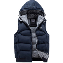 New Mens Jacket Sleeveless veste homme Winter Fashion Casual Coats Male Hooded Cotton-Padded Men's Vest men Thickening Waistcoat(China (Mainland))