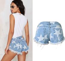 2016 hot Europe Womens Denim shorts ultra short Jeans Stars printing Vintage Tassel low waist Women Sexy Hot Denim Pants Blue 42