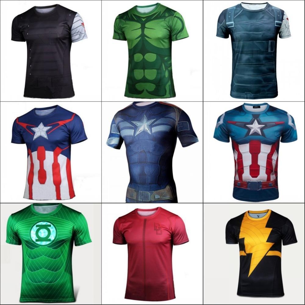 2016 Batman Spiderman Ironman Superman Captain America Avengers Costume Superhero Soldier Marvel Comics Mens Style Short T shirt(China (Mainland))