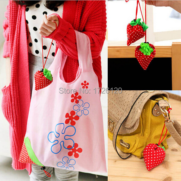 1 PC Nylon Foldable Reusable Shopping Bags Eco Storage Handbag Strawberry Tote Reusable Bags(China (Mainland))