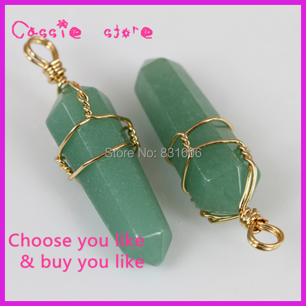 10PCS Natural Crystal Green Aventurine Pendant Drusy Quartz 15x50mm Hexagon Gem Jewelry Gold Wire Wrapped Charm Women Pendant(China (Mainland))