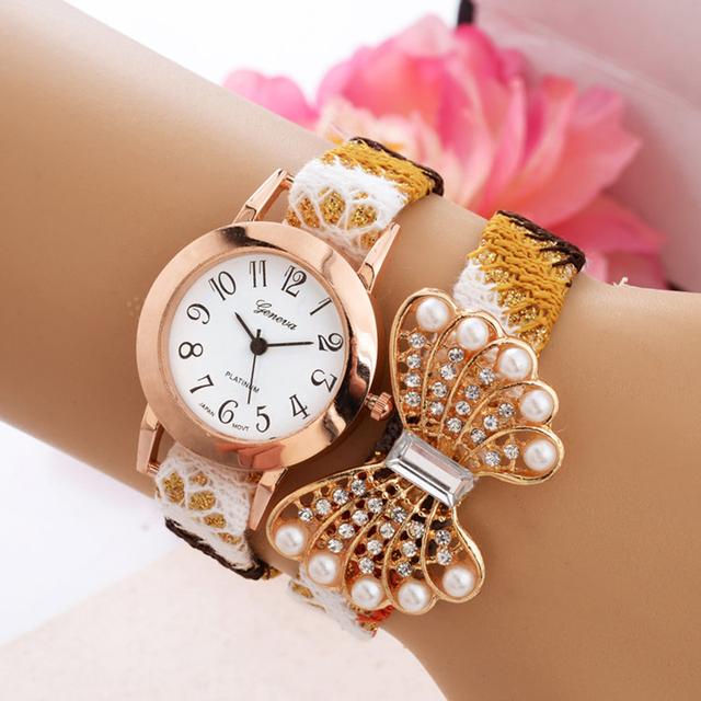 2016 модный дизайн женщины часы и роскоши алмаза домашний текстиль ткань досуга дамы браслет наручные часы женева кварцевые часы