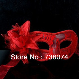mask pure manual Venice feather translucent lily flower party - New Wave Shopping store
