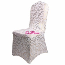 Bronzing Chair Cover Elastic Spandex Coverings Gold Printing Flower Chair Covers for Weddings Banquet Home Textile(China (Mainland))