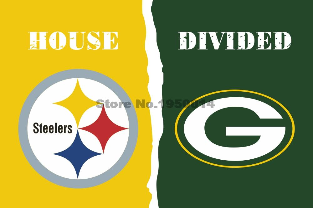Pittsburgh Steelers Green Bay Packers House Divided Flag 3ft x 5ft Polyester NCAA Banner Flying Size No.4 144* 96cm Custom flag(China (Mainland))
