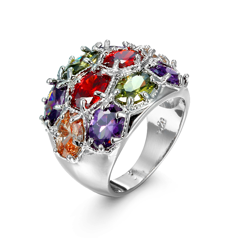 Free Shipping Wholesale Peridot Garnet Citrine Amethyst 925 Sterling Silver Fashion Women Multicolor Zircon Rings(China (Mainland))