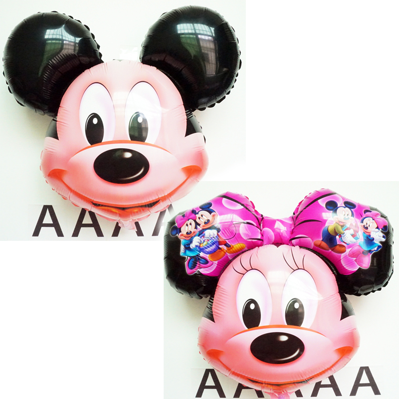 2pc/lot Minnie Mouse Head Foil Balloon Kids MIckey Ballons Happy Birthday Globos Party Decoration Baby Shower Balao Ball(China (Mainland))