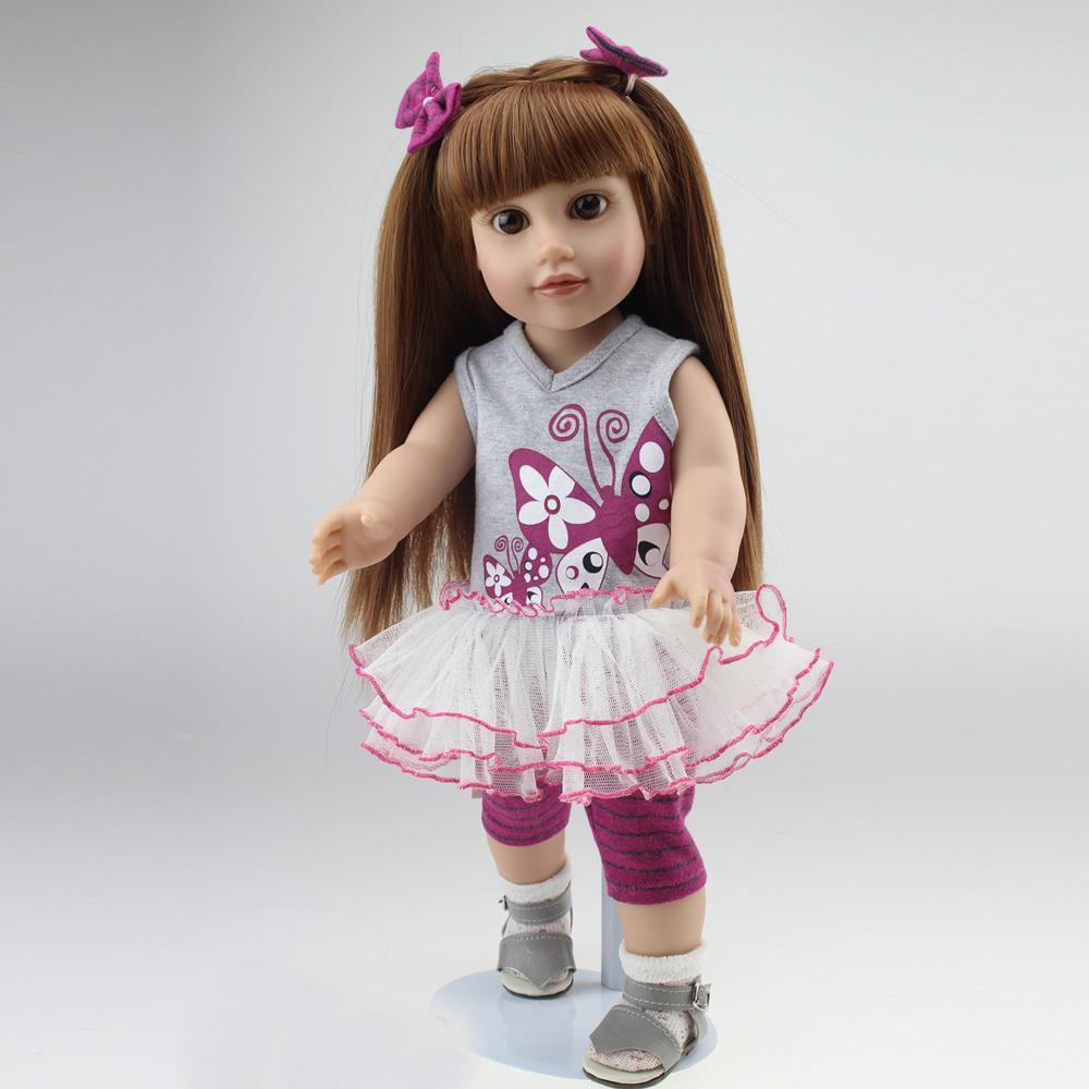 "NEW 18"" 45cm Half Soft Body American Sweet Girl Dolls Journey Handmade Bjd Birthday Gift Silicone reborn baby doll toys for girl(China (Mainland))"