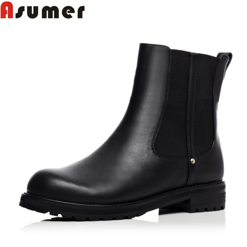 2016 autumn winter fashion genuine leather women boots flat heel round toe platform shoes high quality black ankle boots<br><br>Aliexpress