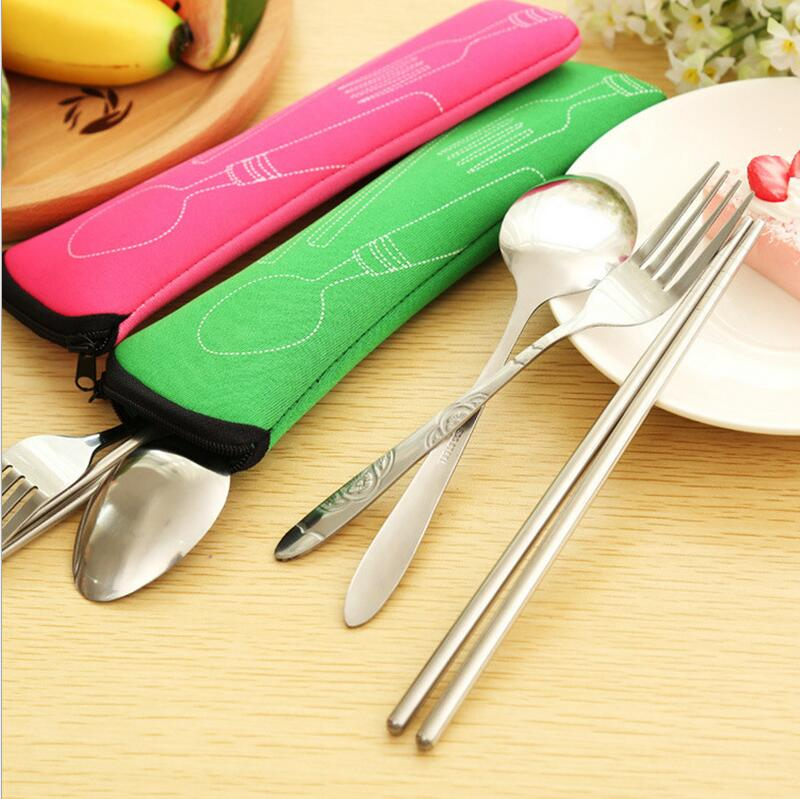 Outdoor picnic camping cutlery set protable candy color bag(China (Mainland))