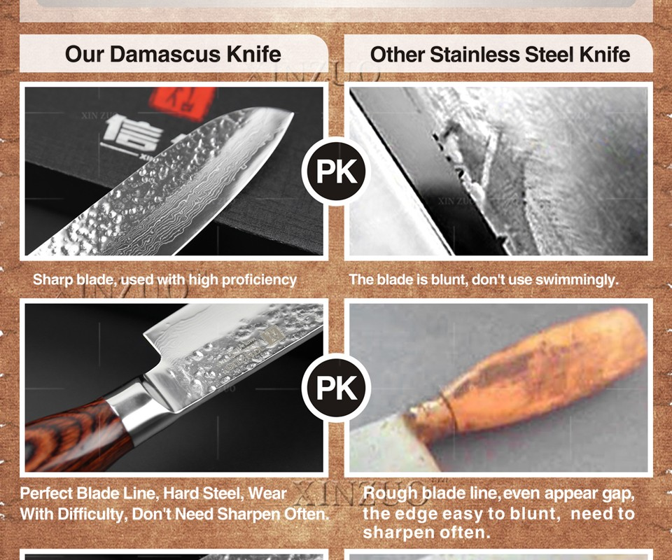"""Buy XINZUO new 5"""" santoku knife 73 layers Japan Damascus kitchen knife japanese VG10 chef knife with Color wood handle free shipping cheap"""