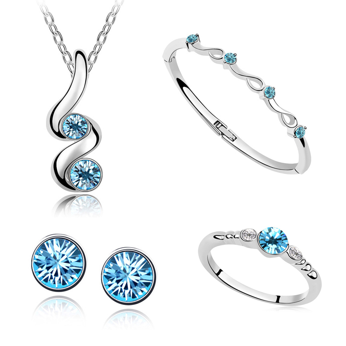 Platinum Plated Fashion Retail Jewelry Sets With Austrian Crystal Pendant Necklace/Bangle/Ring/Stud Earrings Wedding Accessory(China (Mainland))