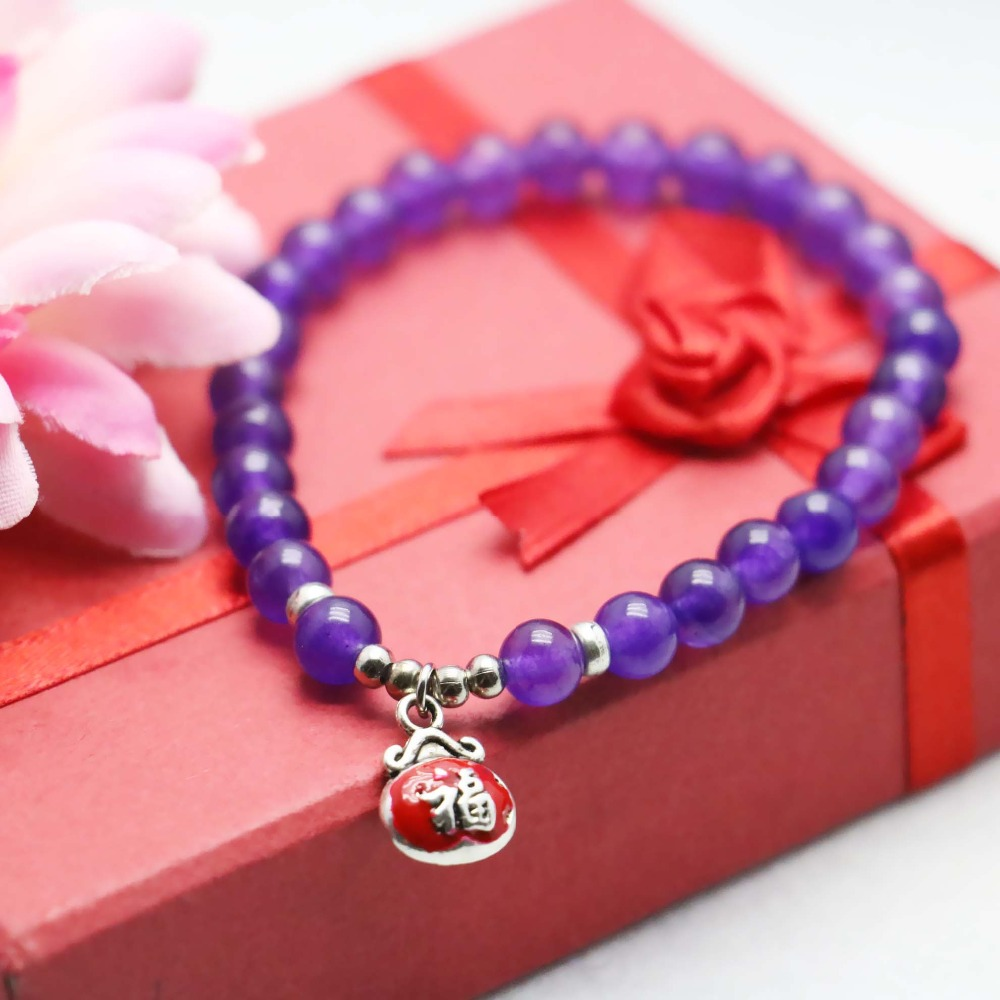 6mm Popular Purple Crystal beads Natural stone Bracelet hand chain for women girls Pendant Tibet Silver Lucky bag Jewelry(China (Mainland))