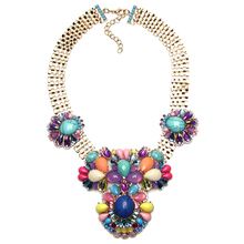 Hot sale Brand Design Gold Plated Wide Chain Flower Pendant Jewelry Women Resin Rhinestone Necklaces & Pendants Free Shipping(China (Mainland))