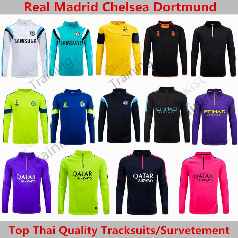 Champions League Real Madrid Training 2015 Barcelona Tracksuit Chelsea Football Training Suits Dortmund Ac Milan Sweater Chandal(China (Mainland))