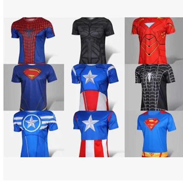 Hot Batman Spiderman Ironman Superman Captain America Winter soldier Marvel T shirt Avengers Costume Comics Superhero mens T-064 - R&BLL store